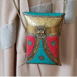 BOHO chic Brass and Mosaic Crossbody